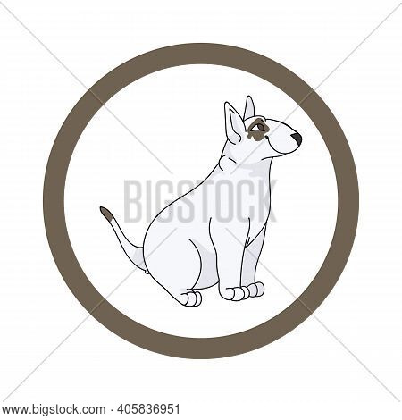 Cute Cartoon Bull Terrier In Circle Dog Vector Clipart. Pedigree Kennel Doggie Breed For Kennel Club
