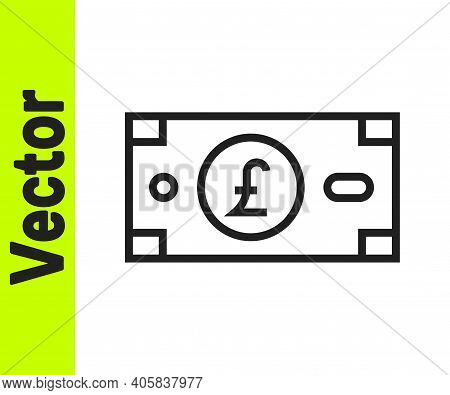 Black Line Pound Sterling Money Icon Isolated On White Background. Pound Gbp Currency Symbol. Vector