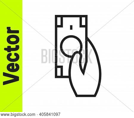 Black Line Fast Payments Icon Isolated On White Background. Fast Money Transfer Payment. Financial S