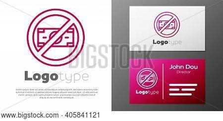 Logotype Line No Money Icon Isolated On White Background. Prohibition Of Money. Logo Design Template