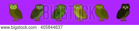 Set Of Barn Owl Cartoon Icon Design Template With Various Models. Modern Vector Illustration Isolate