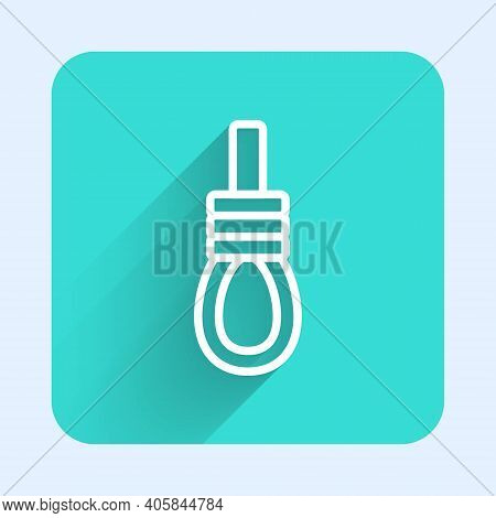 White Line Gallows Rope Loop Hanging Icon Isolated With Long Shadow. Rope Tied Into Noose. Suicide,