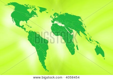 World map illustration in 2D showing all continents