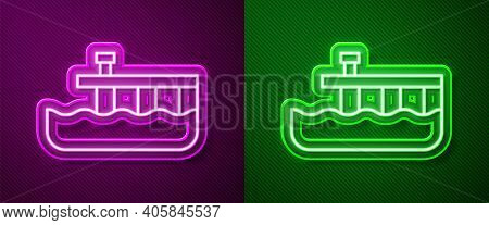 Glowing Neon Line Beach Pier Dock Icon Isolated On Purple And Green Background. Vector