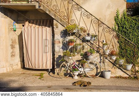 A Door In The Village Of Malchina In Trieste Province,  Friuli-venezia Giulia, North East Italy