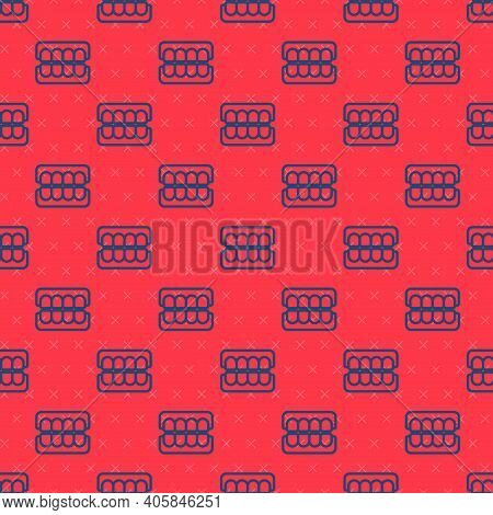 Blue Line False Jaw Icon Isolated Seamless Pattern On Red Background. Dental Jaw Or Dentures, False