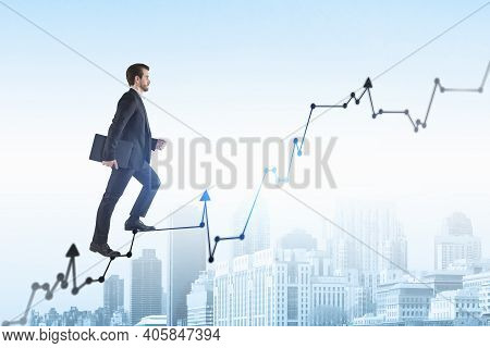 Young Business Man Go Walk Making Step, Businessman Wear Elegant Black Suit And Holding A Laptop Goi