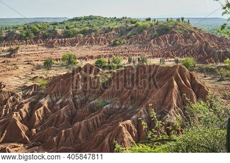 Dry And Arid Landscape Of The Tatacoa Desert In Colombia, Showing A Lot Of Erosion Of Its Beautiflu