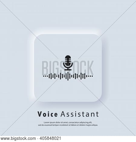Voice Recognition Icon. Ai Personal Assistant And Voice Recognition Icon. Microphone With Soundwave.