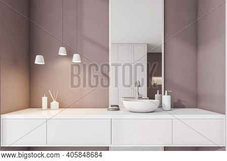 Brown And White Bathroom With Sink, Mirror Front View. Minimalist Design Of Modern Bathroom. 3d Rend