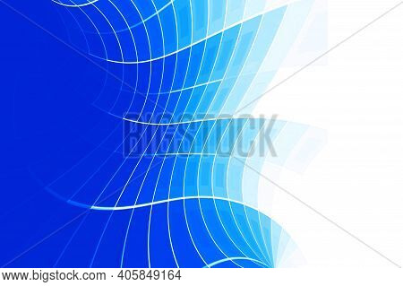 Blue Abstract Flowing Curves Background.  Business And Corporate Blue Background. Blue Geometric Bac