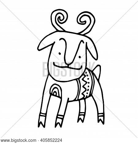 Cute Decorative Goat With Horns, Mountain Sheep, Vector Illustration With Black Ink Contour Lines Is