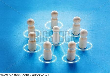 Concept Cooperation, Teamwork, Training. Circle Of People Interconnected By Lines. Collaboration And