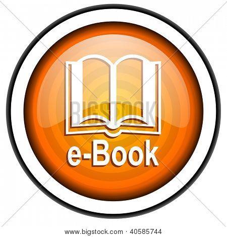 e-book orange glossy icon isolated on white background