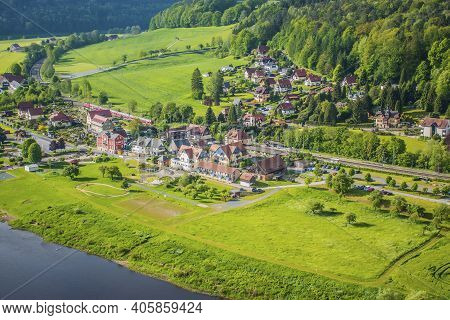 18 May 2019 Rathen, Saxony, Germany -  Panorama Of The Bastei Bridge, River Elbe And Small Town Kuro