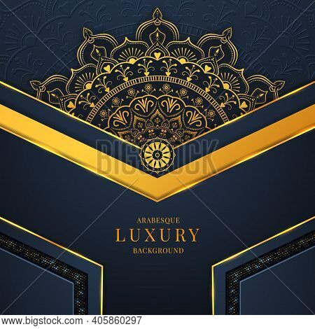 Arabesque Luxury Background With Golden Mandala, Golden Geometric Shapes, Lights, And Dynamic Shadow