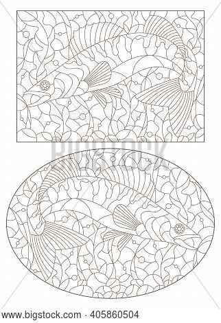 A Set Of Contour Illustrations In The Stained Glass Style With Pike Perch Fishes On A Background Of