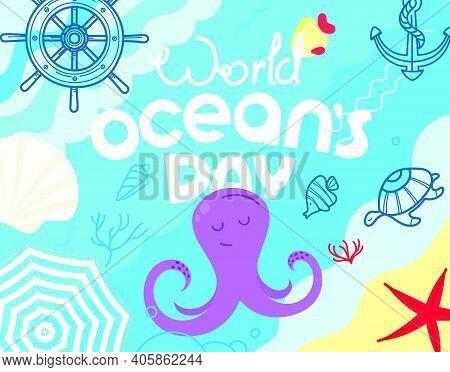 World Oceans Day. Sketchy Style Illustration. Vector Illustration