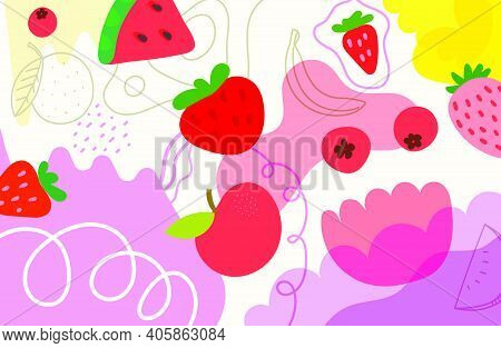 Creative Doodle Artistic Wallpaper With Fruits. Abstract Background With Color Hand Drawn Geometric