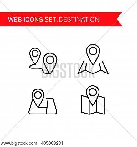 Destination. Thin Line Icons Vector Set On White