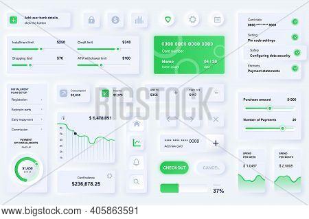 User Interface Elements For Banking Mobile App. Unique Neumorphic Design Ui, Ux, Gui, Kit Elements T