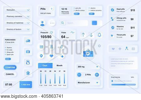 User Interface Elements For Medical Mobile App. Unique Neumorphic Design Ui, Ux, Gui, Kit Elements T