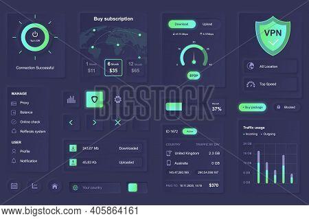 User Interface Elements For Vpn Service Mobile App. Unique Neumorphic Design Ui, Ux, Gui, Kit Elemen