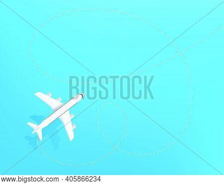 Travel Destination. Top View Design Template. Vector Illustration