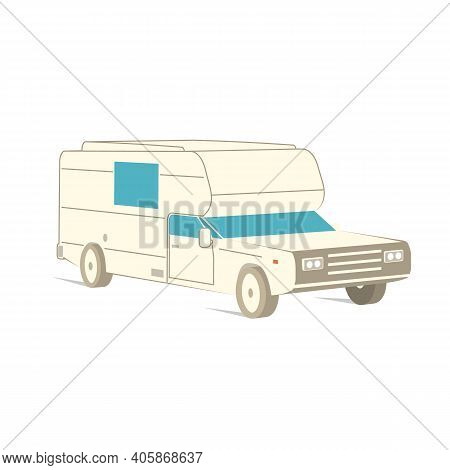 Retro Recreation Vehicle Camper, Camping Rv, Trailer Or Family Caravan. 3d Isometric Cartoon Icon Is