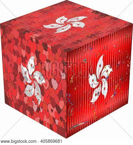 Hong Kong Cube - Illustration,  Abstract Grunge Mosaic Flag Of Hong Kong
