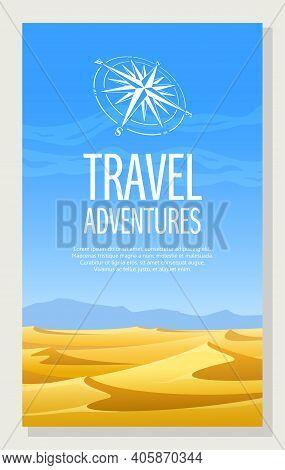 Flyer. Sand Desert Vertical Landscape. Vector Illustration