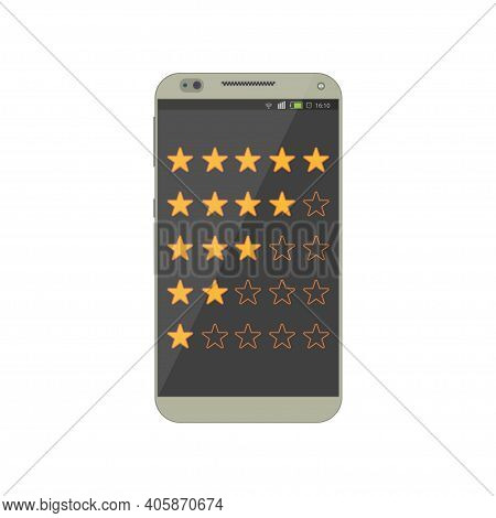 Online Feedback Rating And Review For Mobile App. Reviews Stars With Good And Bad Rate. Concept Of T