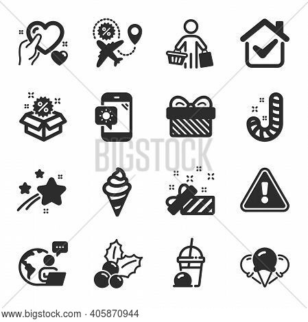 Set Of Holidays Icons, Such As Ice Creams, Flight Sale, Gift Symbols. Present, Sale, Hold Heart Sign