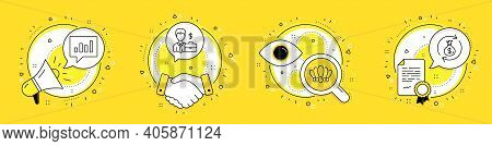 Analytical Chat, Businessman Case And Crown Line Icons Set. Megaphone, Licence And Deal Vector Icons