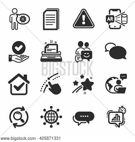 Set Of Technology Icons, Such As Typewriter, Search, Messenger Symbols. Augmented Reality, Statistic