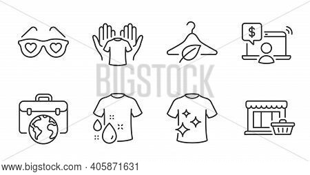 Marketplace, Slow Fashion And Hold T-shirt Line Icons Set. Love Glasses, Online Shopping And Clean T