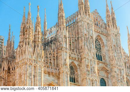 Famous Church Milan Cathedral Duomo Di Milano With Gothic Spires And White Marble Statues. Top Touri
