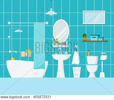 Bathroom With Toilet Interior Scene. House Room With Bathroom Furniture, Mirror, Towels, Child Duck,