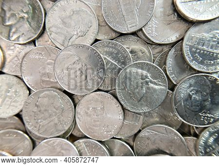 Flat View Nickels. United States Currency Five Cent Coins, Composed Of 75 Percent Copper And 25 Perc