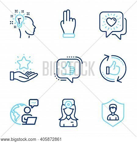 People Icons Set. Included Icon As Click Hand, Friends Chat, Like Signs. Oculist Doctor, Idea, Refre