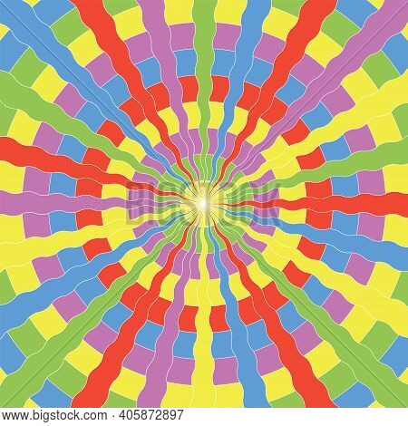 1960s 1970s Hippie Style. Psychedelic Art Poster. Wavy Rays And Circles. For Background, Cover, Bann