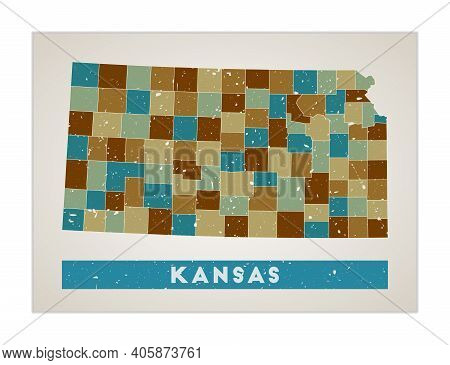 Kansas Map. Us State Poster With Regions. Old Grunge Texture. Shape Of Kansas With Us State Name. Cr