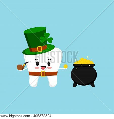 St Patrick Day Tooth In Leprechaun Costume With Pot Of Gold. Dental Tooth Irish Character With Black