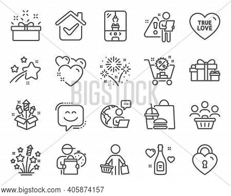 Holidays Icons Set. Included Icon As Shopping Cart, True Love, Fireworks Stars Signs. Present Box, L