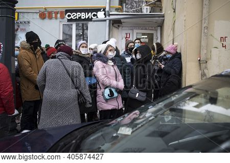 Moscow, Russia - 31 January 2021, Mass Protests In Russia Call For Alexei Navalny's Release. The Cro