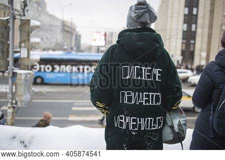 Moscow, Russia - 31 January 2021, Mass Protests In Russia Call For Alexei Navalny's Release. The Wom
