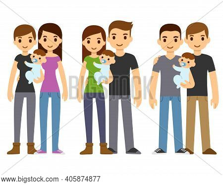 Cute Cartoon Couples, Gay And Heterosexual, Holding Baby. Diverse Families, Same Sex Adoption. Isola