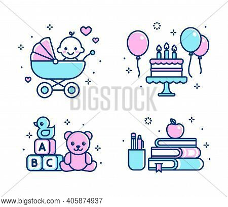 Childhood Icon Set. Baby In Stroller, Birthday Cake, Toys, School Supplies. Simple Cartoon Line Icon