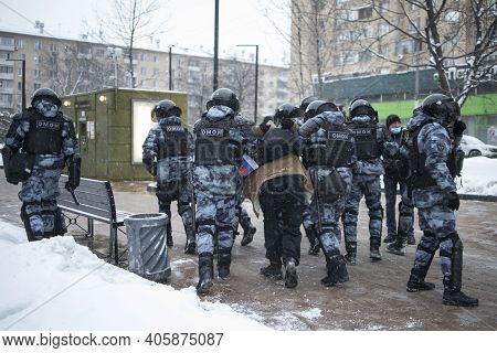 . Moscow, Russia - 31 January 2021, Mass Protests In Russia Call For Alexei Navalny's Release. Polic