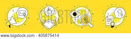 Verified Mail, Dog Certificate And Eco Food Line Icons Set. Megaphone, Licence And Deal Vector Icons